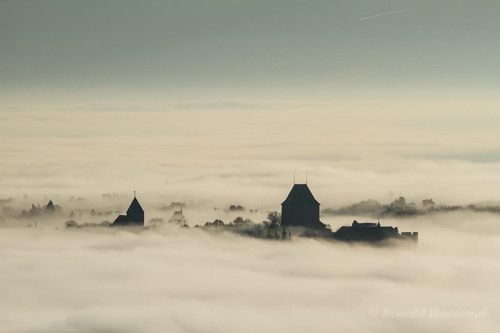 Burg Nideggen über dichtem Nebel (vom Krawutschketurm aus gesehen)