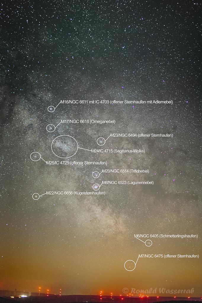 Milchstraßenzentrum - Samyang 50 mm Vollformat, Blende 1.5, ISO 3200, 100 x 5 Sekunden Belichtungszeit