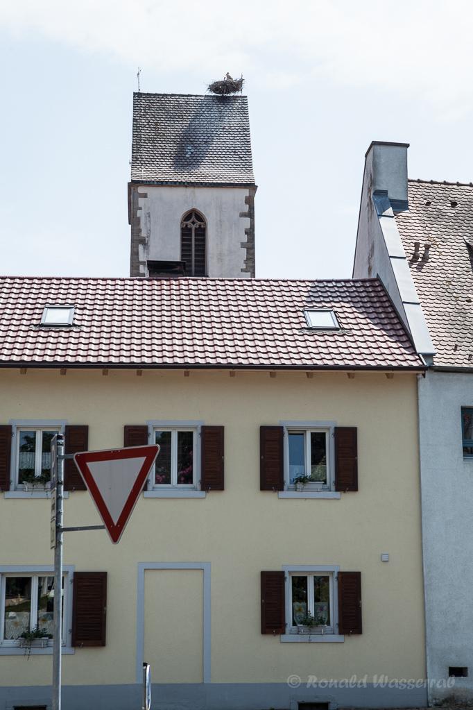 Kirchturm Munzingen mit Storchennest