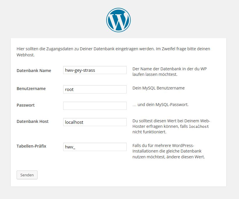 WP Zugangsdaten Host