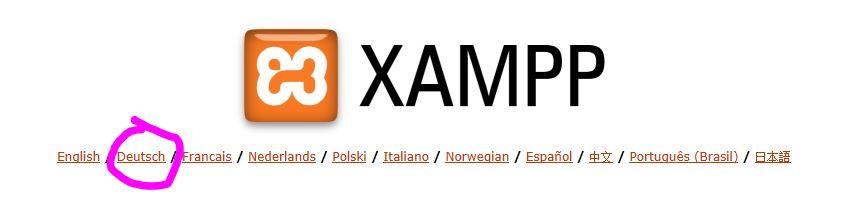 XAMPP Deutsch auswählen