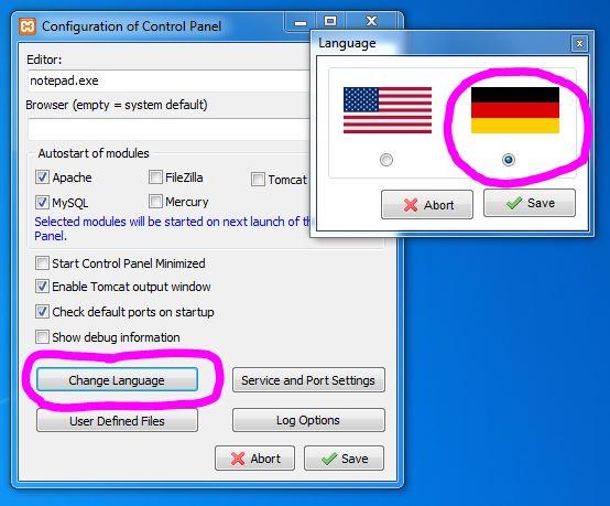 XAMPP-Sprach-Configuration