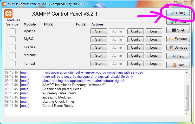 XAMPP Control-Panel Config