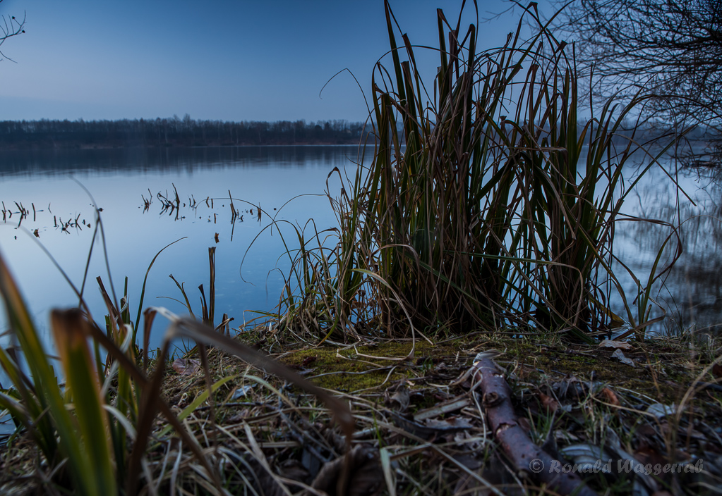 Blaue Stunde morgens am Badesee Düren (längere Belichtung)