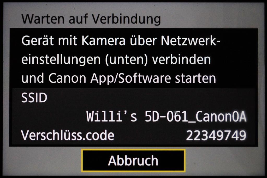 Canon mit Smartphone verbinden - Verschlüsselungs-Code