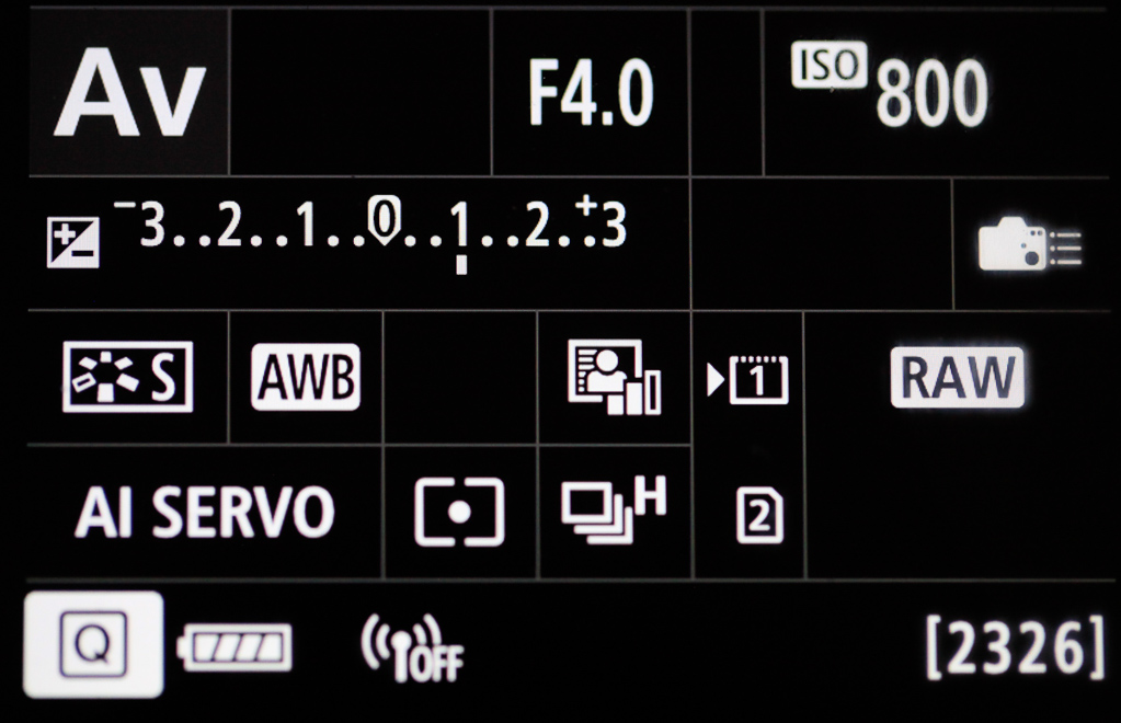 Canon mit Smartphone verbinden - Infobildschirm - Das Funksymbol ist hell geschaltet (WLAN aktiv)