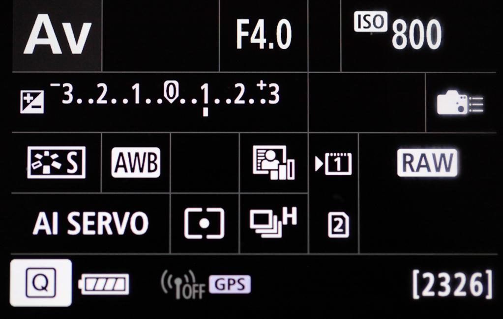 Canon mit Smartphone verbinden - Infobildschirm - Das Funksymbol (neben GPS) ist dunkel geschaltet (WLAN deaktiviert)