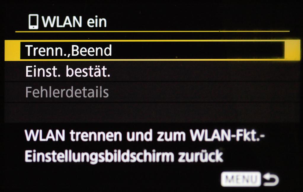 """Canon mit Smartphone verbinden - Mit """"Menü"""" zurück zum Info-Bildschirm"""