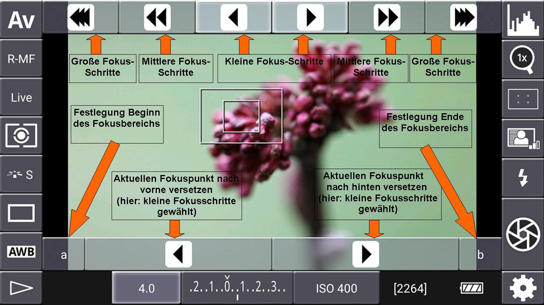 Focus-Stacking mit DSLR-Controller - Focus-Stacking-Steuerelemente