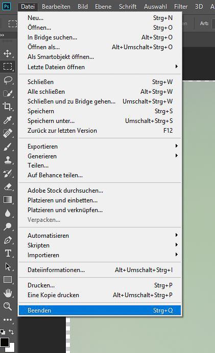 """Focus-Stacking Bildbearbeitung - Menü """"Beenden"""""""