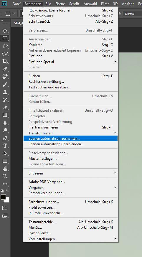 "Focus-Stacking Bildbearbeitung - Menü ""Ebenen automatisch ausrichten..."""