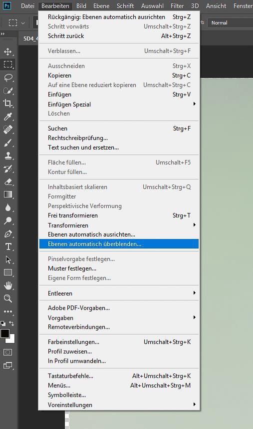 """Focus-Stacking Bildbearbeitung - Menü """"Ebenen automatisch überblenden..."""""""