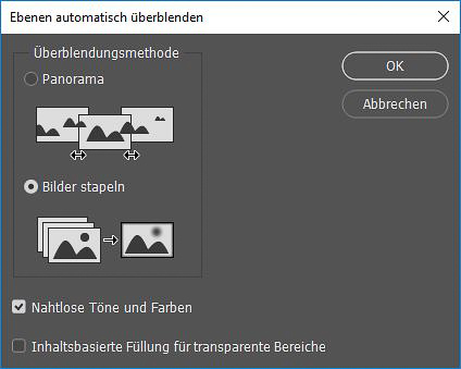 """Focus-Stacking Bildbearbeitung - Box """"Ebenen automatisch überblenden"""""""