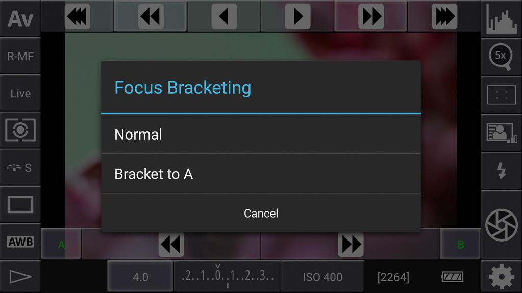 Focus-Stacking mit DSLR-Controller - Bracketing to A wählen