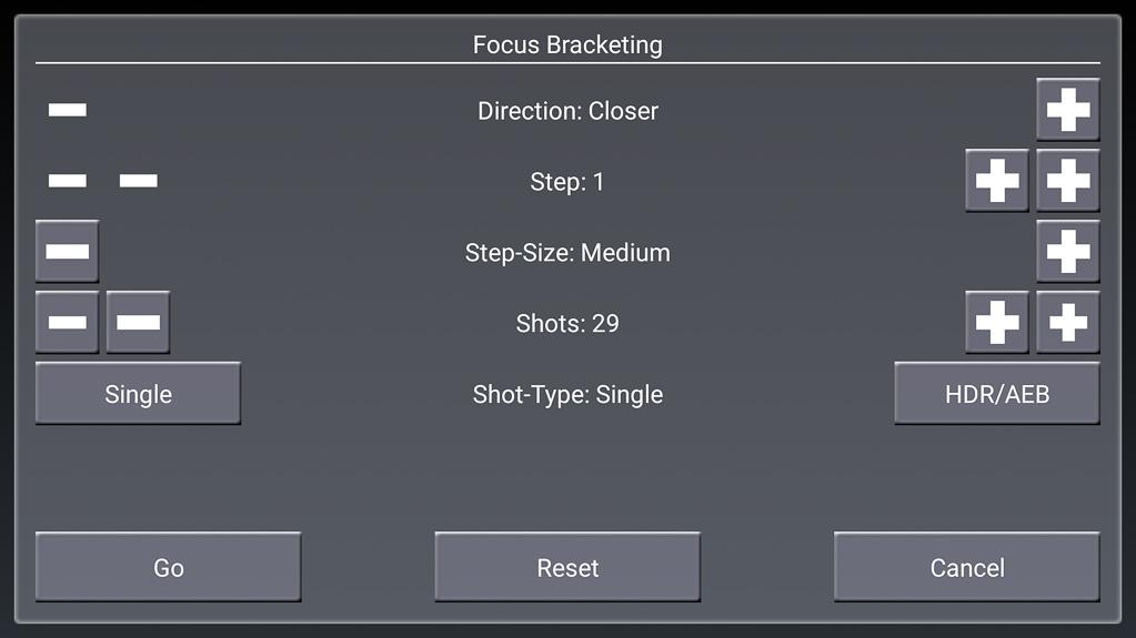"""Focus-Stacking mit DSLR-Controller - """"Go"""" SAchritte und Fotozahl kontrollieren, dann """"Go"""" wählen"""