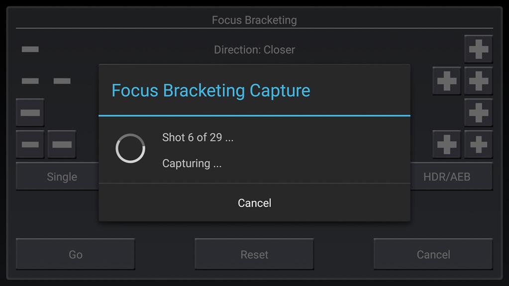 Focus-Stacking mit DSLR-Controller - Meldung über Arbeitsfortschritt