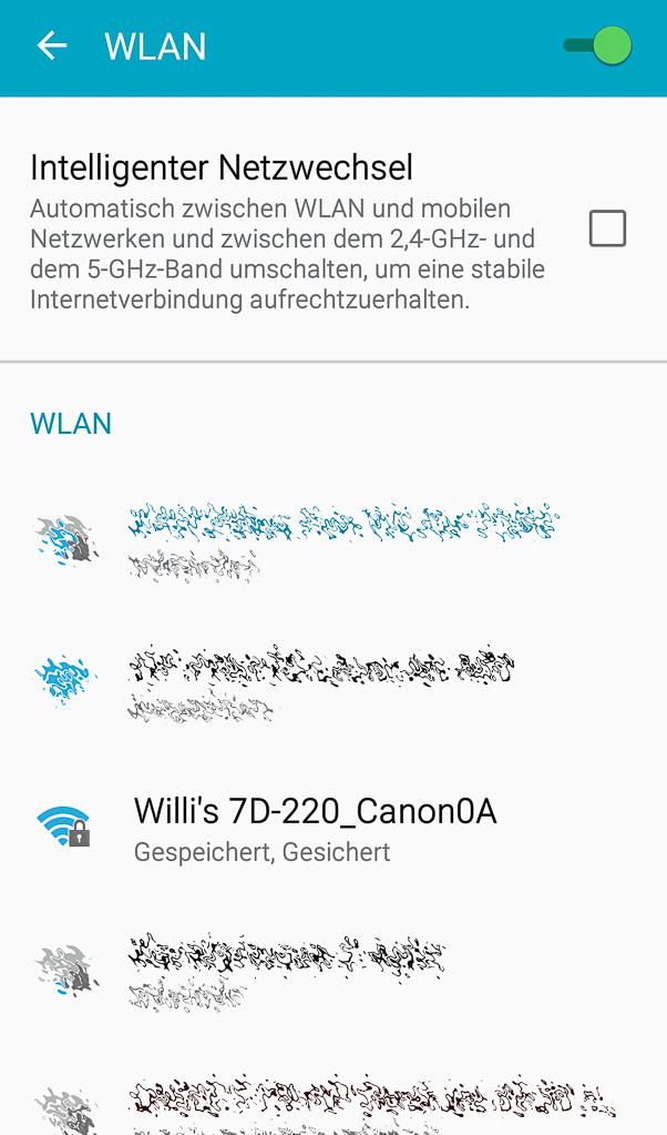 Canon mit Smartphone verbinden - Smartphone-WLAN-Wahl