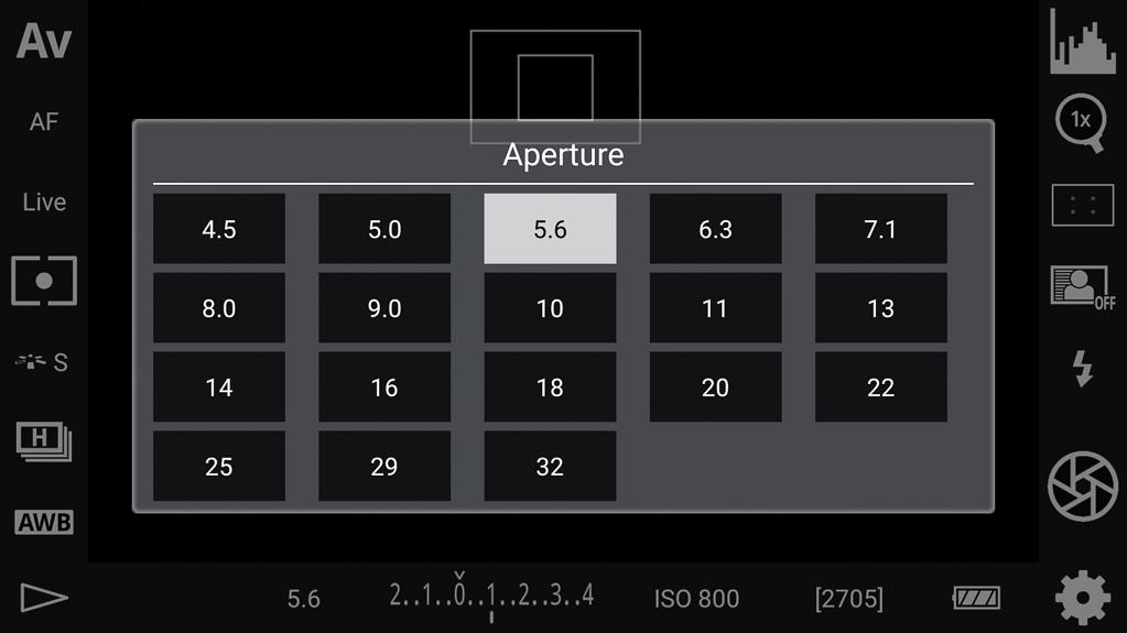 DSLR-Controller Bedienungsanleitung - Blendenwahl
