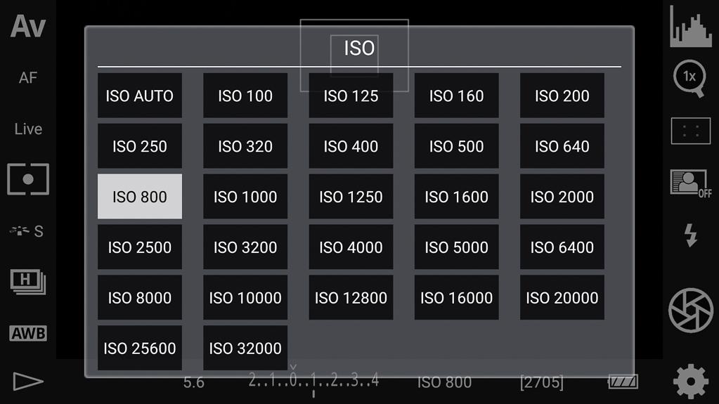 DSLR-Controller Bedienungsanleitung - ISO-Wahl