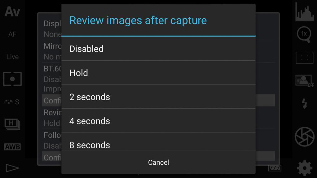 DSLR-Controller Bedienungsanleitung - Länge der automatischen Bilderrückschau