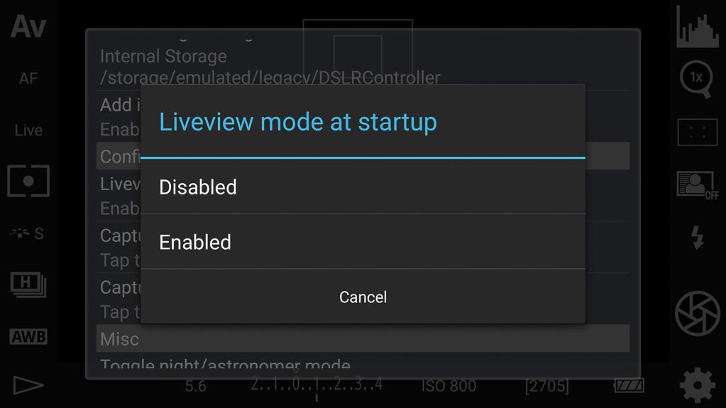 Live-View-Modus beim Start an- oder ausgeschaltet