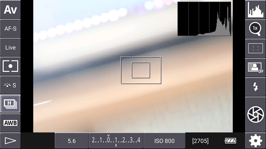 DSLR-Controller Bedienungsanleitung - Histogramm aktiviert