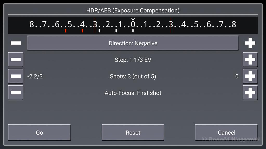 HDR/AEB (Exposure Compensation)