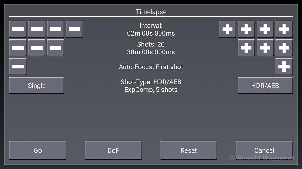 Timelapse (Zeitraffer) mit HDR/AEB