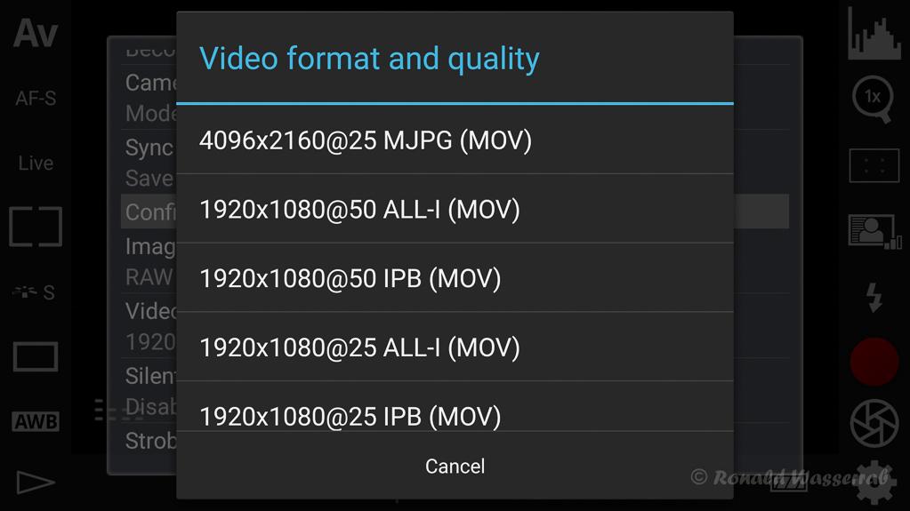 DSLR-Controller Anleitung - Wahl der Video-Aufnahmequalität