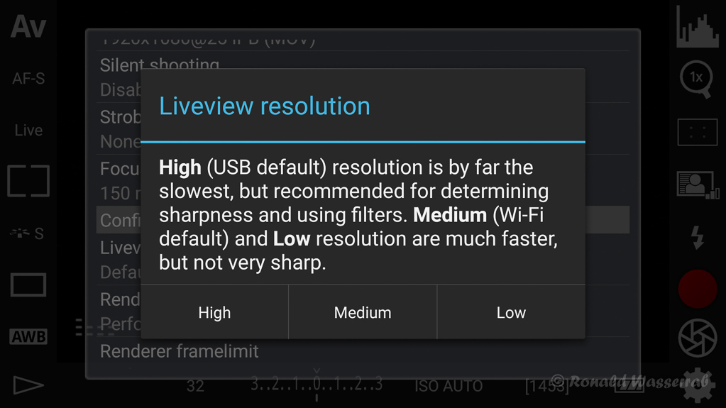 DSLR-Controller Anleitung - Auflösung des Liveview-Bildes