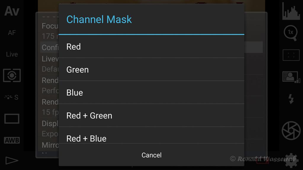 DSLR-Controller Anleitung - Filtereffekte für die Liveview-Darstellung (Channel Mask)