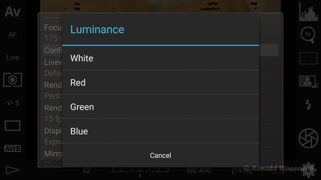 DSLR-Controller Anleitung - Filtereffekte für die Liveview-Darstellung (Luminance)