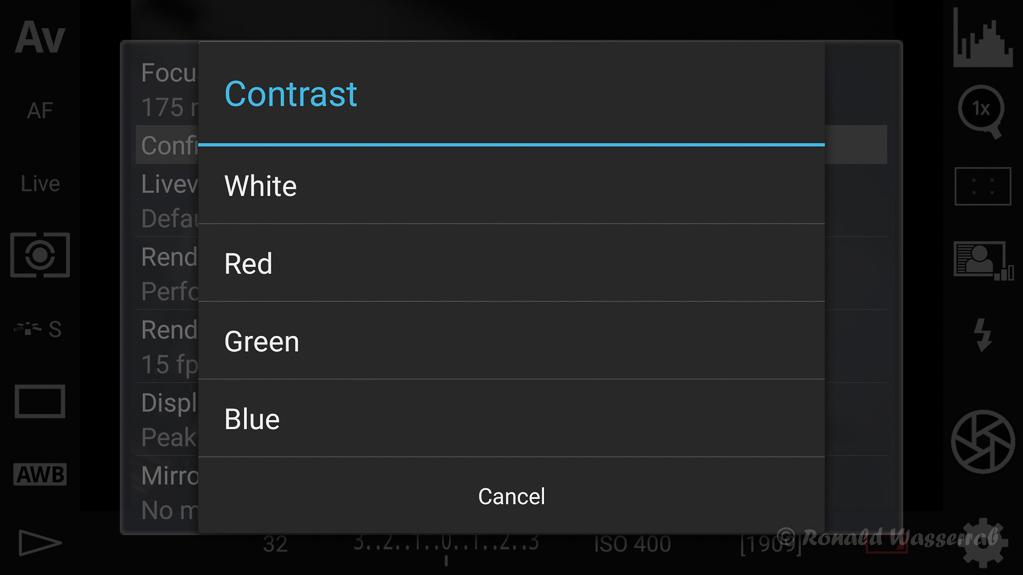 DSLR-Controller Anleitung - Filtereffekte für die Liveview-Darstellung (Contrast)
