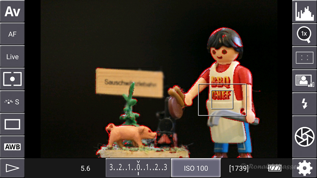 DSLR-Controller Anleitung - Display filter: Peaking Red