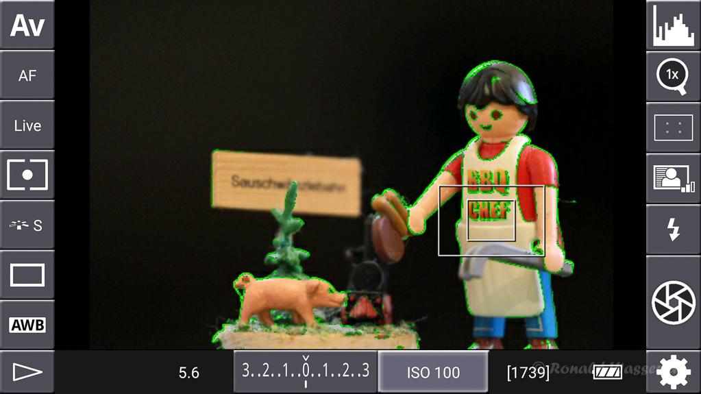 DSLR-Controller Anleitung - Display filter: Peaking Green