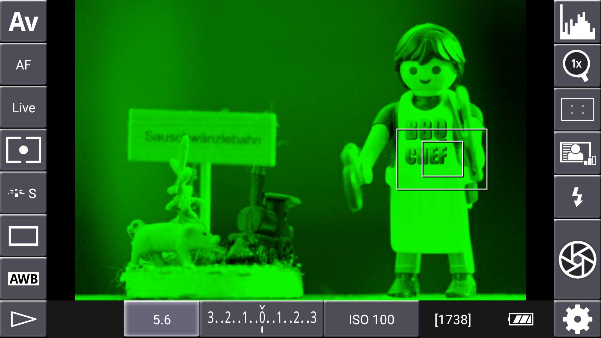 DSLR-Controller Anleitung - Display filter: Channel Mask (Grün)