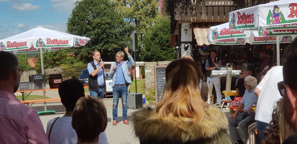 Hansy Vogt im Gespräch mit Bürgermeister Stefan Dorfmeister