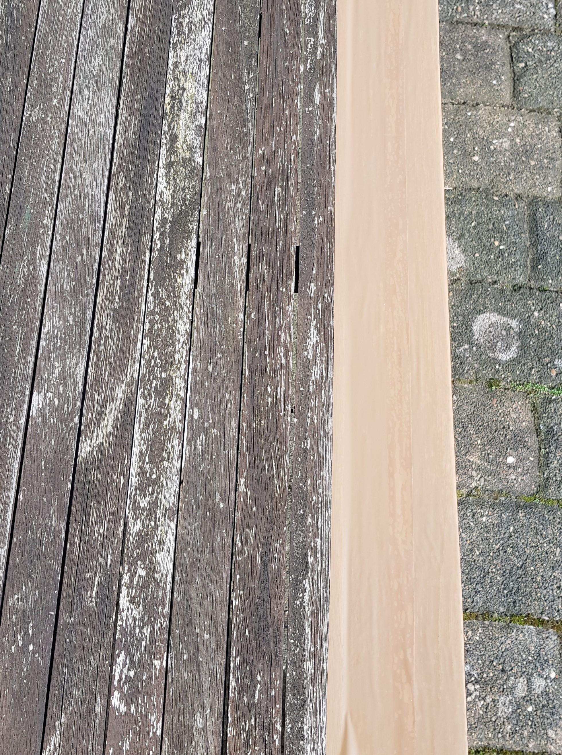 Mit Klebeband versehene Tischkante zum Schutz vor dem Acrylglaskleber