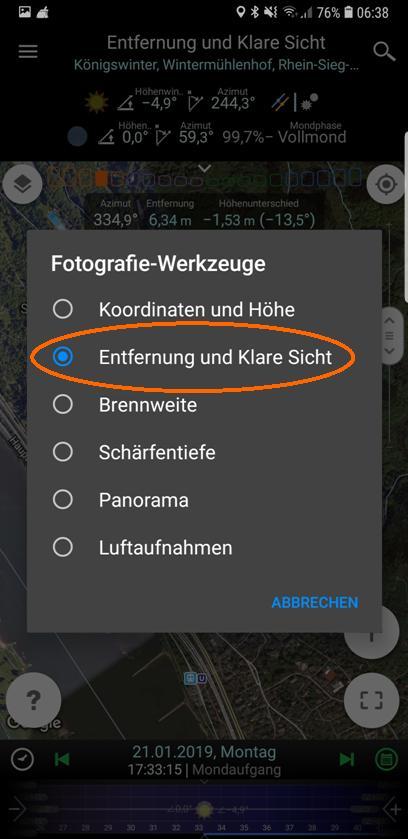"""Wahl des Fotografie-Werkzeugs """"Entfernung und Klare Sicht"""""""