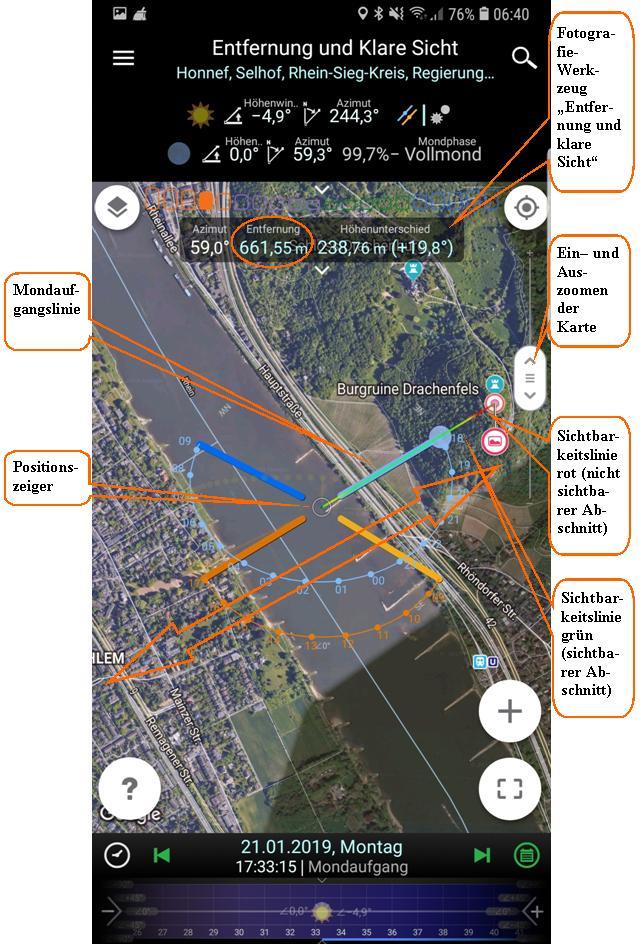 """PlanIt! Planungsbildschirm mit Fotografie-Werkzeug """"Entfernung und Klare Sicht"""""""