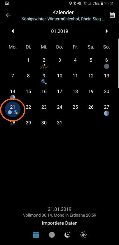 """PlanIt!-Kalender """"Importierte Daten"""" mit ausgewähltem Datum 21.01.2019"""