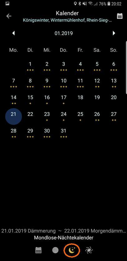 "PlanIt!-Kalender ""Mondlose Nächte"" ohne Legende"