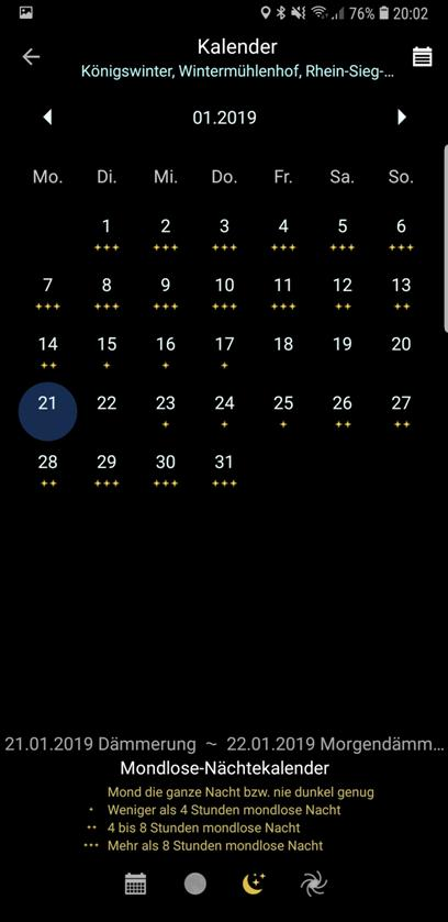 "PlanIt!-Kalender ""Mondlose Nächte"" mit Legende"