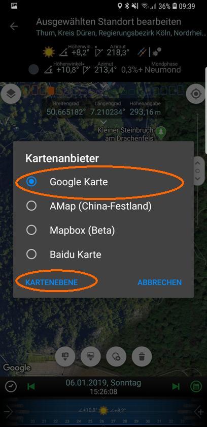 PlanIt! Wahl des Kartenanbieters