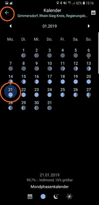 PlanIt! Mondphasenkalender Januar 2019