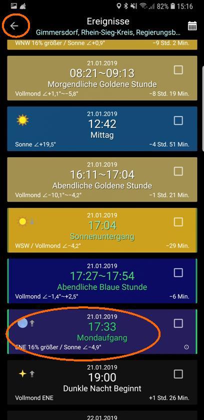 PlanIt! Ereigniskalender Mondaufgang 21.01.2019