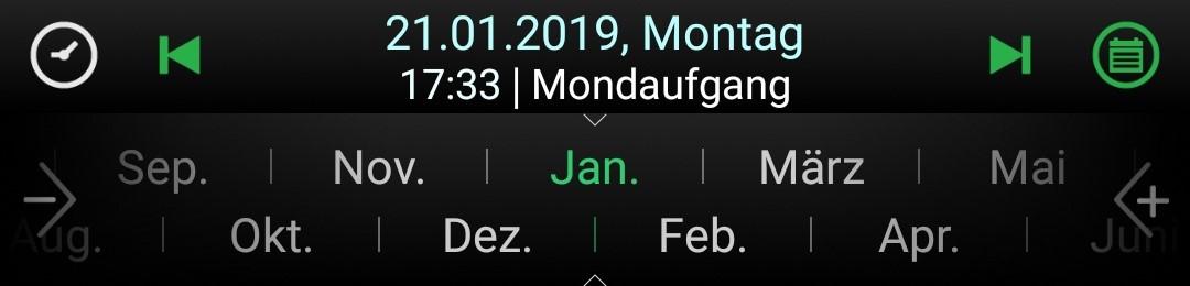 Zeitleiste mit Monatsintervall