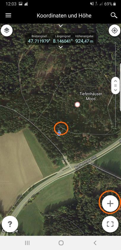 Durch das Verschieben der Karte wird der Cursor-Kreis auf die Position der zu markierenden Stelle gebracht.