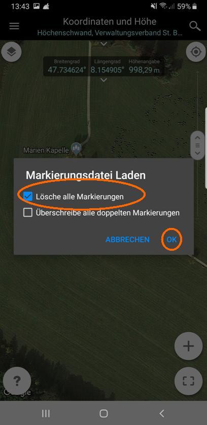 """Durch das Anhaken von """"Lösche alle Markierungen"""", werden alle vorhandenen MArkierungen entfernt, bevor die Markierungen der gewählten Datei geladen werden."""