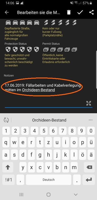 """Notiz zum Fundstellen-Notieren """"Breitblättrige Stendelwurz"""""""